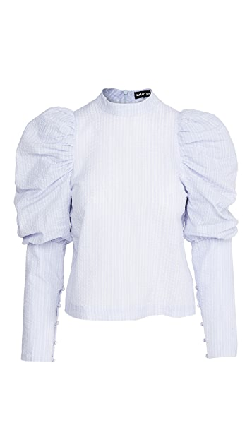 Sister Jane Liberty Line Puff Sleeve Blouse