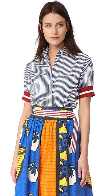 Stella Jean Short Sleeve Striped Shirt
