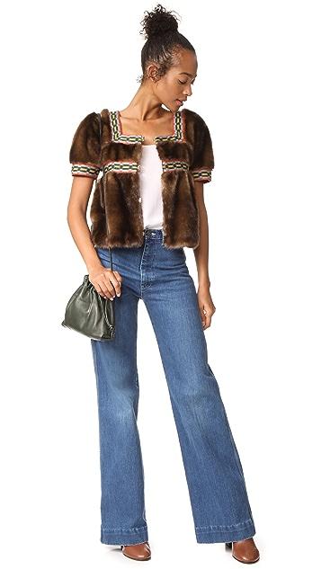 Stella Jean Faux Fur Short Sleeve Jacket