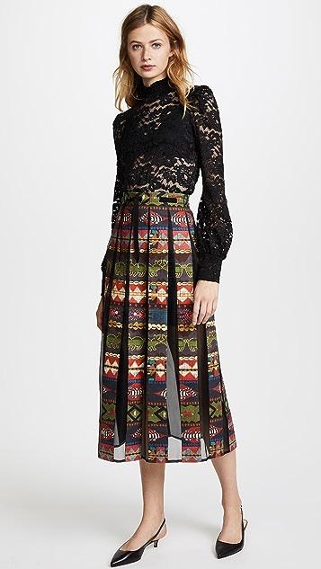 Stella Jean Printed Pleated Inset Skirt