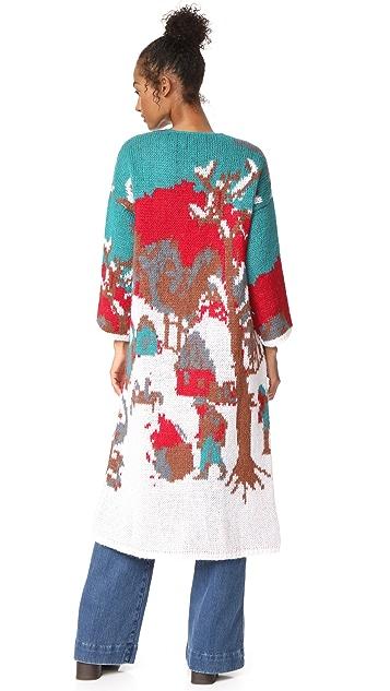 Stella Jean Intarsia Long Cardigan Coat