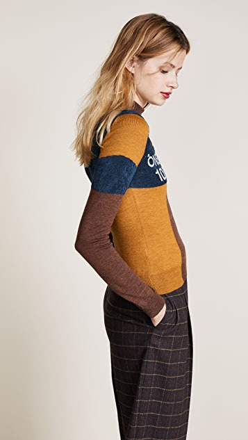 Stella Jean Intarsia Mock Neck Sweater