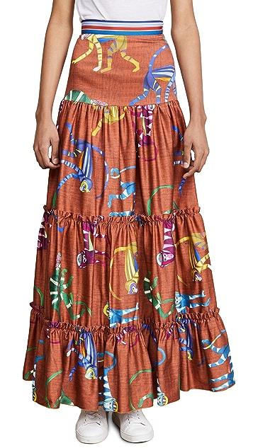 Stella Jean Monkey Print Maxi Skirt