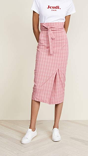 Stella Jean Striped Waist Tie Midi Skirt