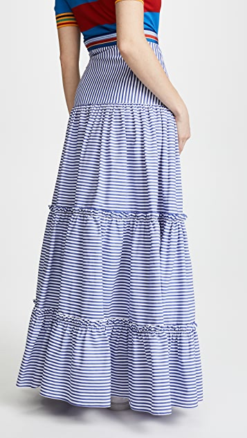 Stella Jean Maxi Tiered Skirt with Parrots