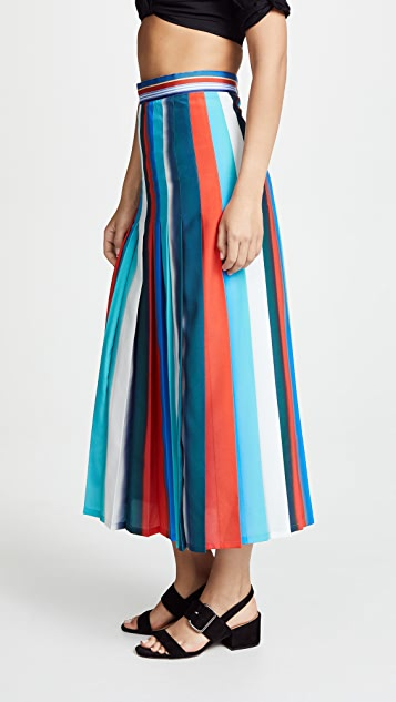 Stella Jean Vertical Stripe Midi Skirt