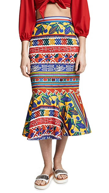 Stella Jean Patterned Midi Skirt
