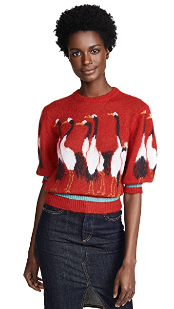 Stella Jean Short Sleeve Swan Sweater
