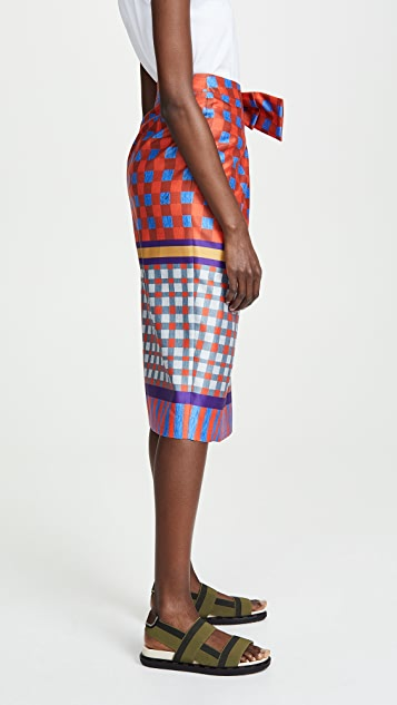 Stella Jean Geometric Wrap Skirt