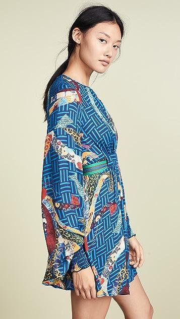 Stella Jean Bird Print Long Sleeve Dress