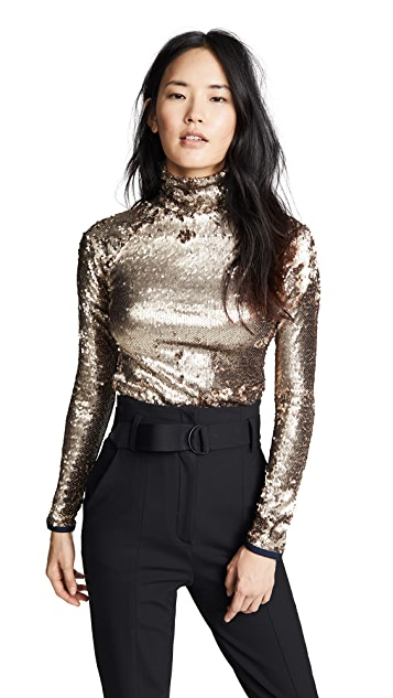 Stella Jean Mock Neck Sequin Top