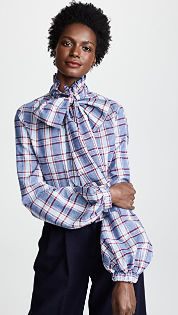 Stella Jean Plaid Tie Neck Shirt