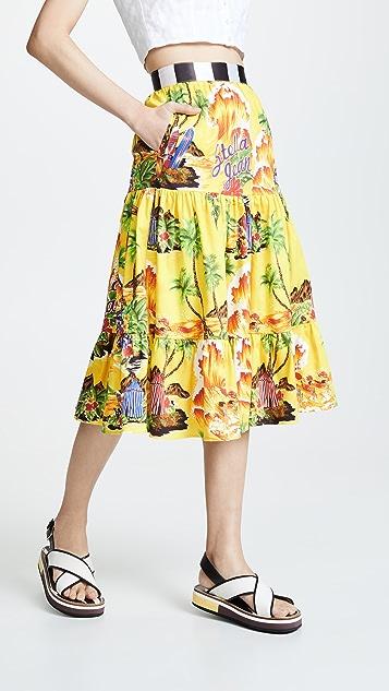 Stella Jean Tropical Tiered Skirt