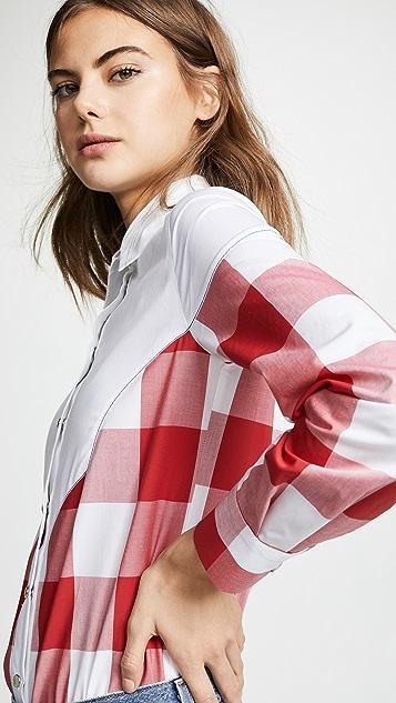 Stella Jean Plaid Combo Button Down Shirt
