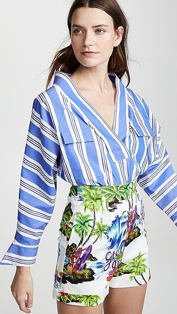 Stella Jean Топ с полосками и V-образным вырезом