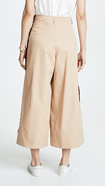 Stella Jean Check Side Stripe Wide Leg Pants