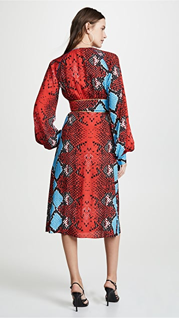 Stella Jean Snake Print V Neck Dress