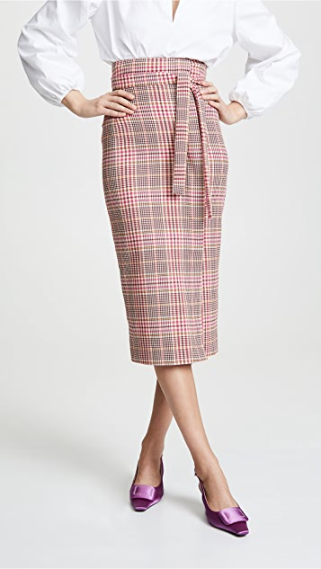 Stella Jean Plaid Tie Waist Skirt