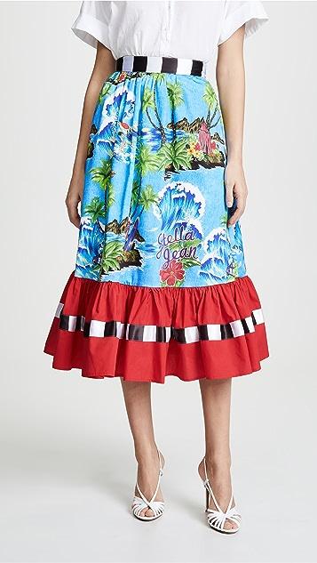 Stella Jean Floral Colorblock Midi Skirt