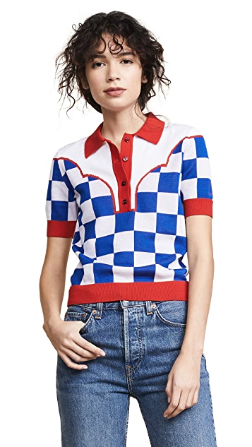 Stella Jean Blue Check Western Polo Top