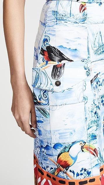 Stella Jean Bird Print Midi Skirt
