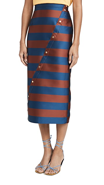 Stella Jean Striped Asymmetrical Midi Skirt