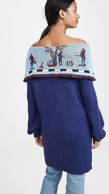 Stella Jean Off Shoulder Embroidered Knit