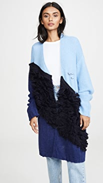Colorblock Oversized Alpaca Cardigan