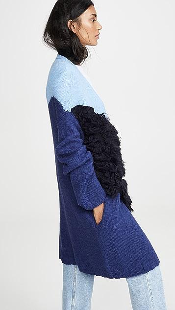 Stella Jean 撞色超大版型羊驼毛开襟衫