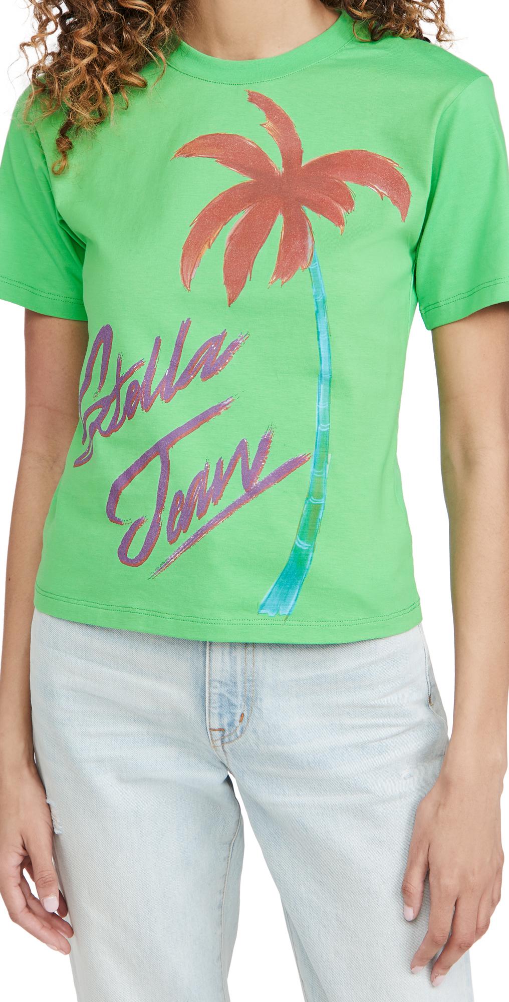 Stella Jean Slim T-Shirt with Palm Graphic