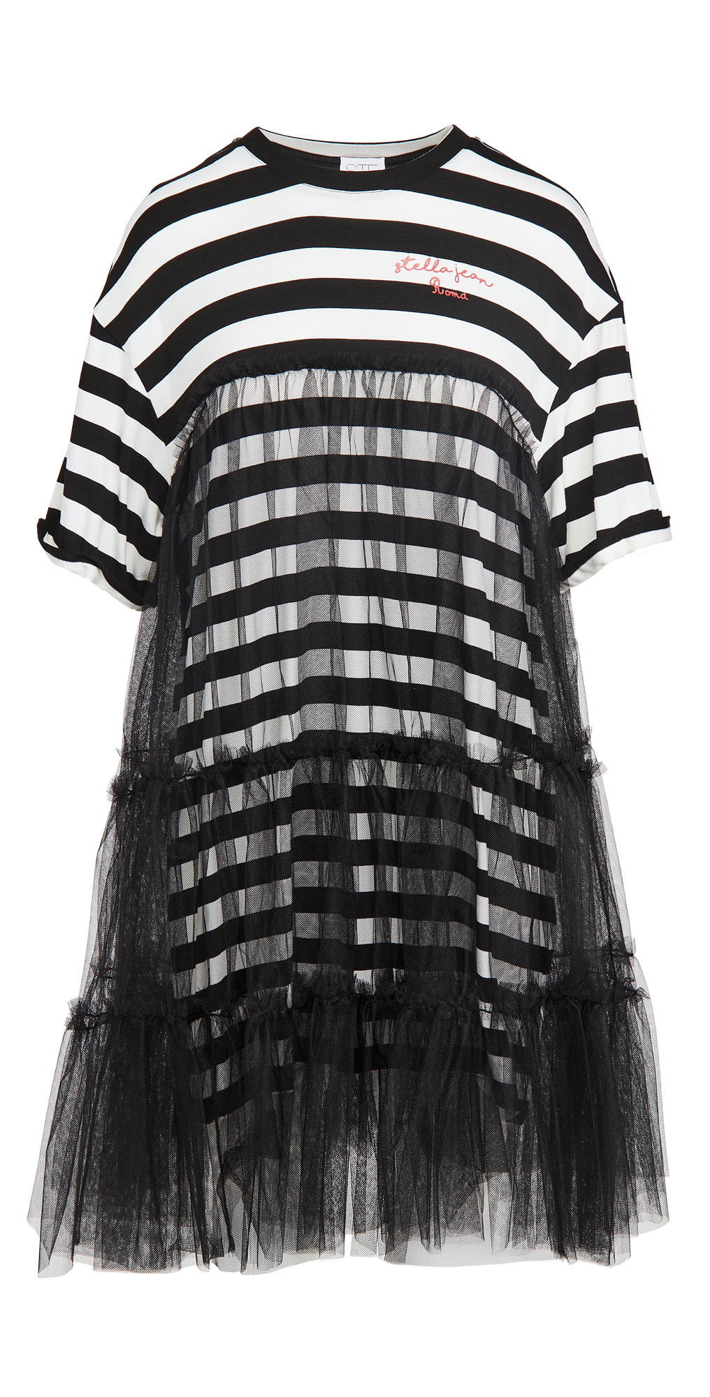 Stella Jean Striped T-Shirt Dress with Tulle