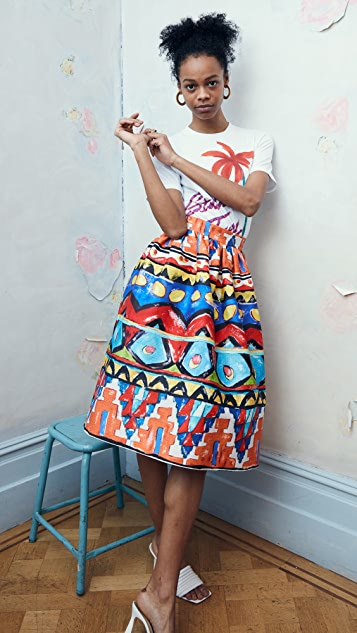 Stella Jean Popeline Skirt with Habiba Print
