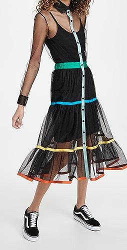 Stella Jean - 轻薄薄纱连衣裙