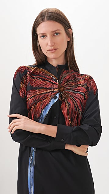 Stella Jean Maxi Blouse with Hand Painted Palm Tree