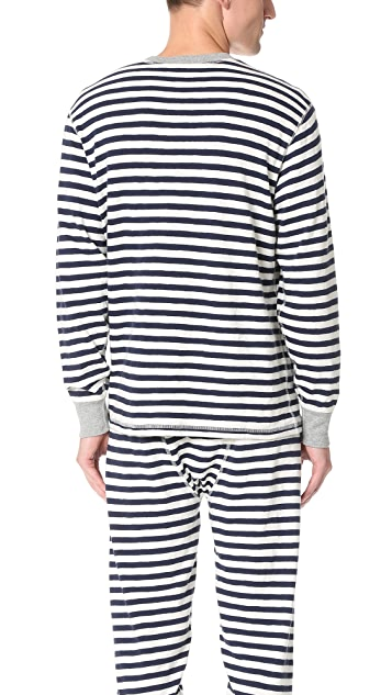 Sleepy Jones Keith Rugby Stripe Thermal Shirt