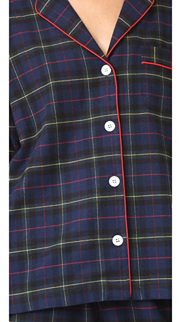 Sleepy Jones Flannel Plaid Marina Pajama Shirt
