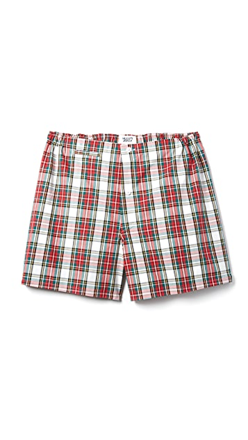 Sleepy Jones Jasper Garland Plaid Boxer Shorts