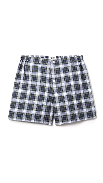 Sleepy Jones Jasper Stewart Plaid Boxer Shorts