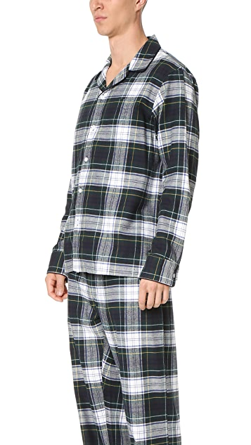 Sleepy Jones Henry Flannel Stewart Plaid Pajama Shirt