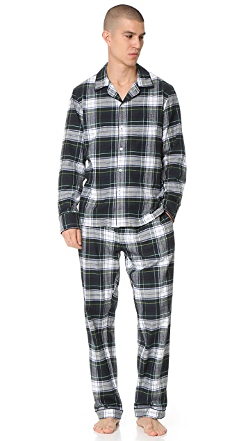 Sleepy Jones Marcel Flannel Stewart Plaid Pajama Pants