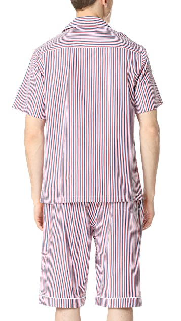 Sleepy Jones Short Sleeve Henry Thin Multistripe Pajama Shirt