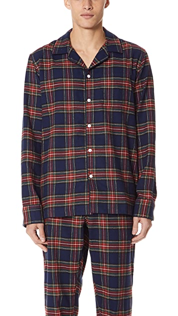 Sleepy Jones Stewart Flannel Pajama Top