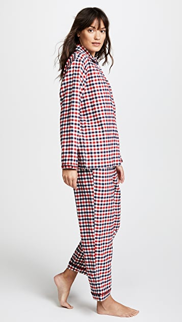 Sleepy Jones Bishop Gingham Flannel Pajama Set