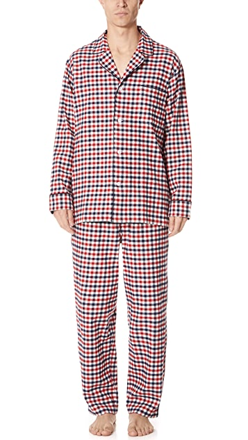 Sleepy Jones Gingham Flannel Pajama Set