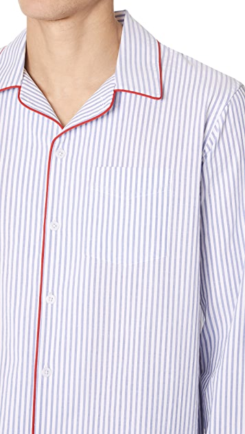Sleepy Jones Seersucker Striped PJ Top