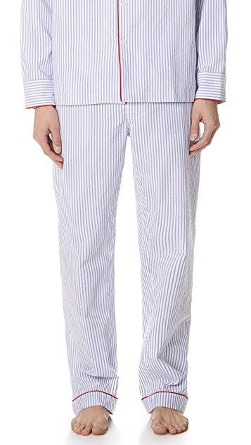 Sleepy Jones Seersucker Striped PJ Bottoms
