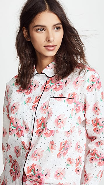 Sleepy Jones Polka Dot Floral Print Bishop PJ Set