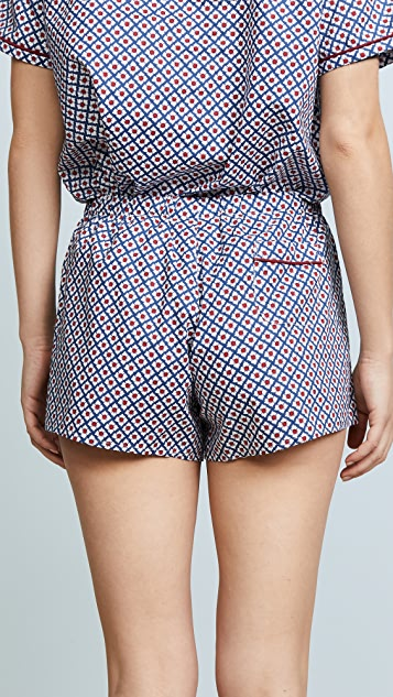 Sleepy Jones Woodblock Foulard Print Paloma Shorts