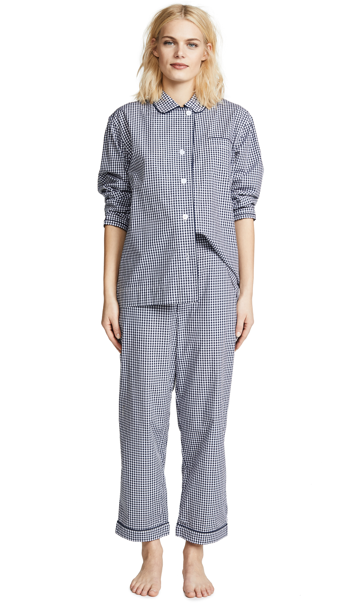 Sleepy Jones Large Gingham Bishop Pajama Set