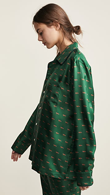 Sleepy Jones Silk Henry Pajama Shirt